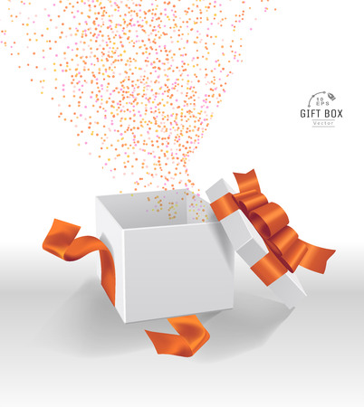 Vector Empty opened gift box with ribbon, bow and confetti. Present package in realistic 3d style. 스톡 콘텐츠 - 119954685