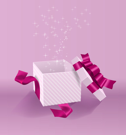 Vector Empty opened gift box with ribbon, bow and confetti. Present package in realistic 3d style. 스톡 콘텐츠 - 119954688