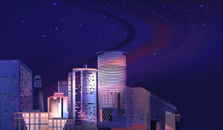 Vector City Night Skyline 스톡 콘텐츠 - 119954691