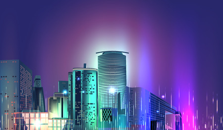 Vector City Night Skyline 스톡 콘텐츠 - 119954692