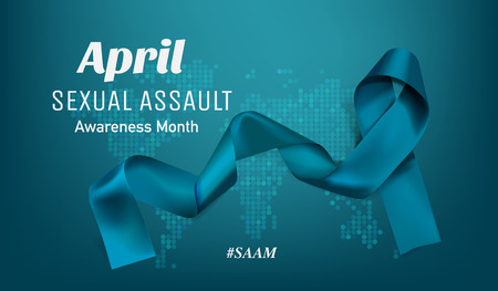 Vector Sexual Assault Awareness Month (April) concept with teal awareness ribbon. Ilustração