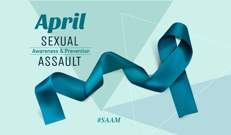 Vector Sexual Assault Awareness Month (April) concept with teal awareness ribbon. 스톡 콘텐츠 - 119954694