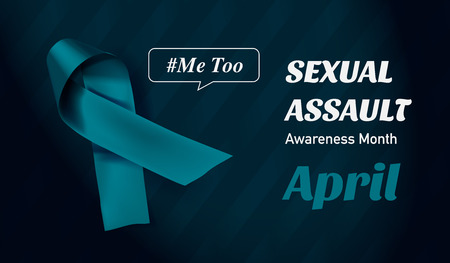 Vector Sexual Assault Awareness Month (April) concept with teal awareness ribbon. 스톡 콘텐츠 - 119954773
