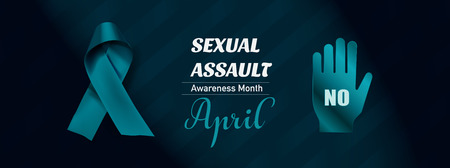 Vector Sexual Assault Awareness Month (April) concept with teal awareness ribbon. 스톡 콘텐츠 - 119954769