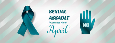 Vector Sexual Assault Awareness Month (April) concept with teal awareness ribbon. 矢量图像