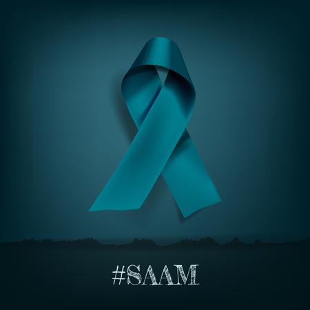 Vector Sexual Assault Awareness Month (April) concept with teal awareness ribbon. Illustration
