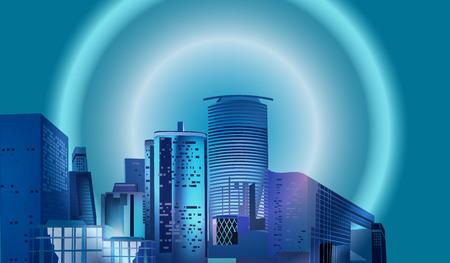 Vector City Night Skyline
