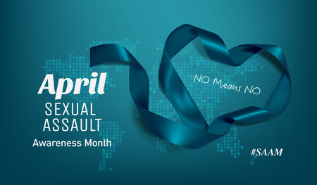 Sexual Assault Awareness Month (April) concept with teal awareness ribbon. 스톡 콘텐츠 - 120034619