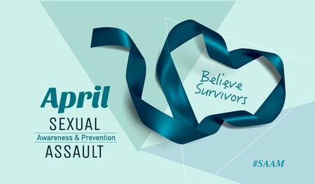 Sexual Assault Awareness Month (April) concept with teal awareness ribbon. 일러스트