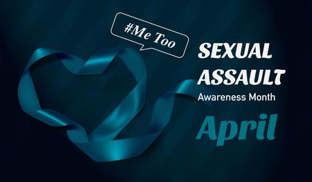 Sexual Assault Awareness Month (April) concept with teal awareness ribbon. 矢量图像
