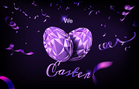 Polygonal Easter Egg with ribbon and confetti. Great for card, website banner, background, wallpaper or template design. 스톡 콘텐츠 - 120034998