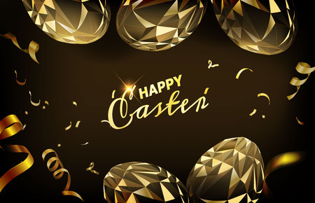 Polygonal Easter Egg with ribbon and confetti. Great for card, website banner, background, wallpaper or template design.
