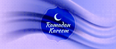 Vector illustration of Ramadan Kareem (Arabic islam culture festival) with silk fabric background. 스톡 콘텐츠 - 121095328