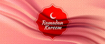 Vector illustration of Ramadan Kareem (Arabic islam culture festival) with silk fabric background. Ilustrace