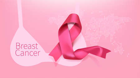 Breast cancer awareness month poster background concept design. Realistic pink bow ribbon vector illustration template