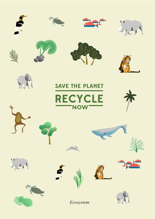 Save the planet global warming world extinct animal infographic recycle