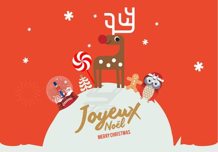 christmas toy store greeting card template vector/illustration Stock Illustratie