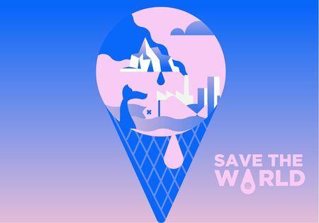 Global warming concept. Melting world as an ice cream. Save the world from pollution Illustration