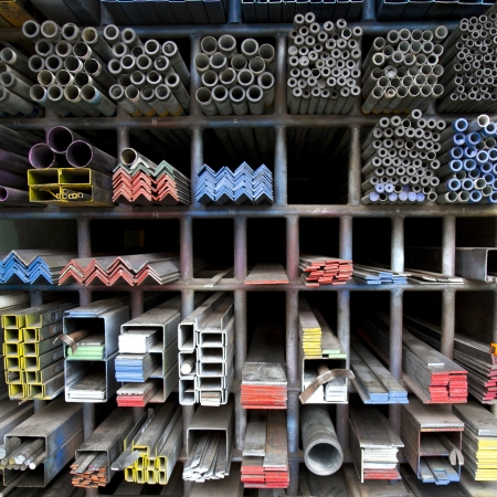 craft material: steel bar components in a construction  Stock Photo