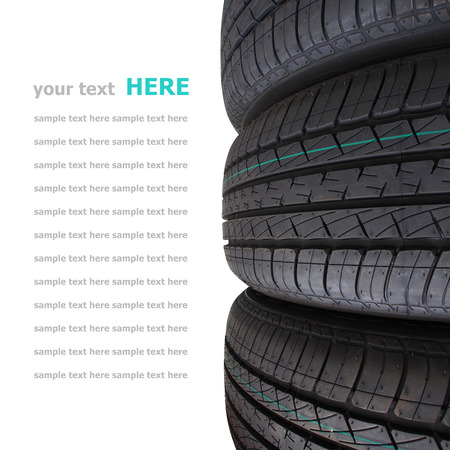 Tire stack selective focus isolated on white background