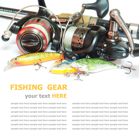Fishing gear is isolated on a white background photo