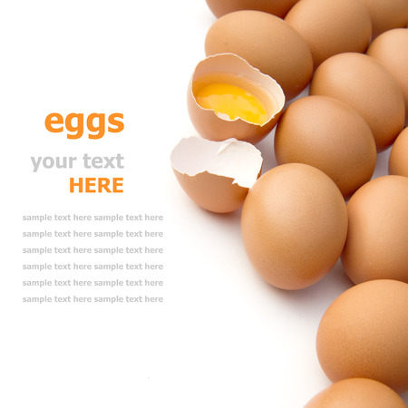 eieren geïsoleerd op wit Stockfoto