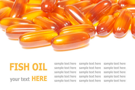Fish oil capsules isolated on white background photo