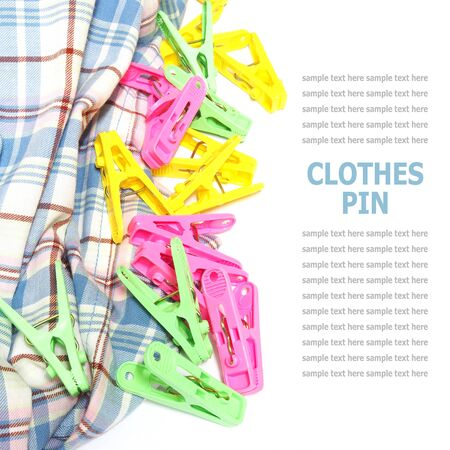 clothes pin: Colorful clothes pin isolated on white background
