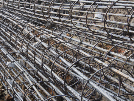 reinforce: Steel rods or bars used to reinforce concrete technicians Stock Photo