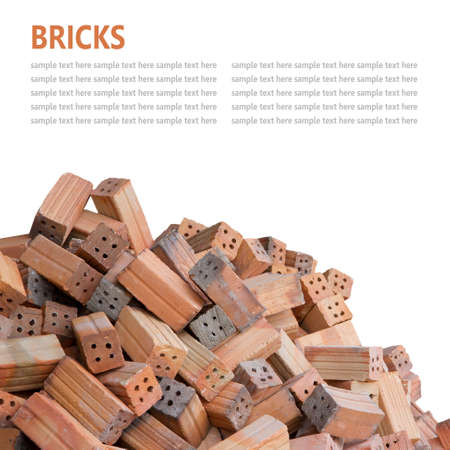 Red bricks material isolated on white background photo