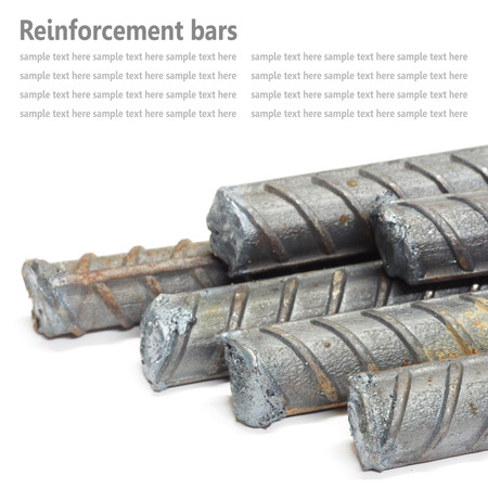 reinforce: Steel rods, Reinforcement bars isolated on white background used to reinforce concrete Stock Photo