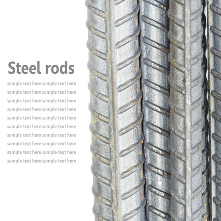 Steel rods, Reinforcement bars isolated on white background used to reinforce concrete Imagens