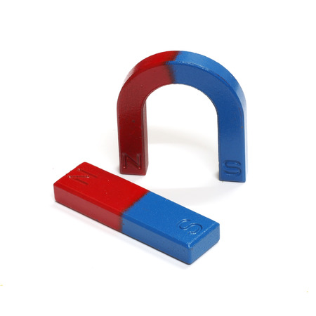 magnetic north: Red and Blue Horseshoe Magnet Isolated on White Background Stock Photo