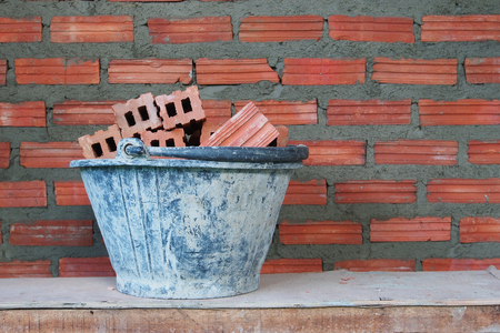 Red bricks material of construstion photo
