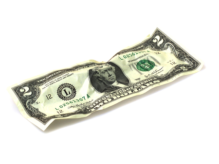 two dollar bill: Close up of two dollar bill isolate on white background. Stock Photo