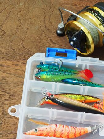tackle: fishing tackle box and lures for bass fish