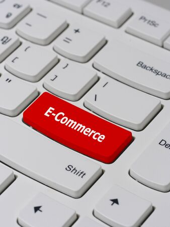keyboard button: Computer keyboard button with E-Commerce text