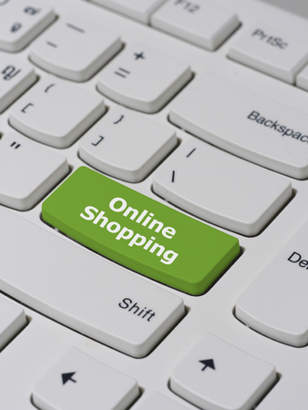 keyboard button: Computer keyboard button with online shopping text Stock Photo
