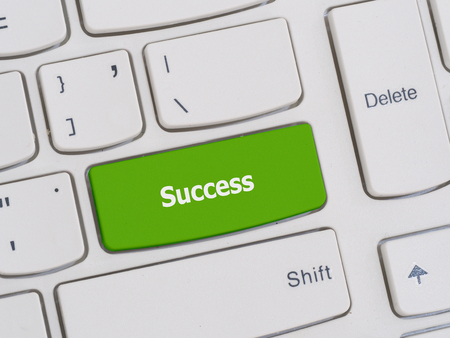 leadership key: Computer keyboard button with success text