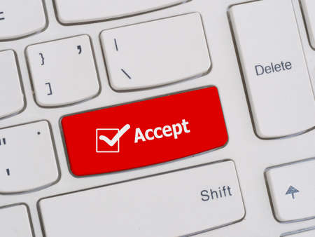 to accept: Computer keyboard button with accept text