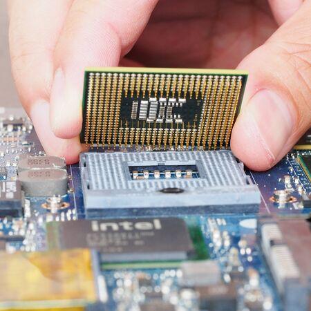mainboard: Computer engineer is installing into mainboard