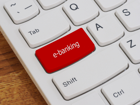 leadership key: Computer keyboard button with e-banking text Stock Photo