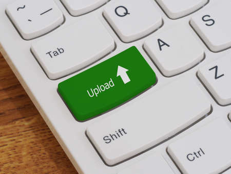 keyboard button: Computer keyboard button with upload text