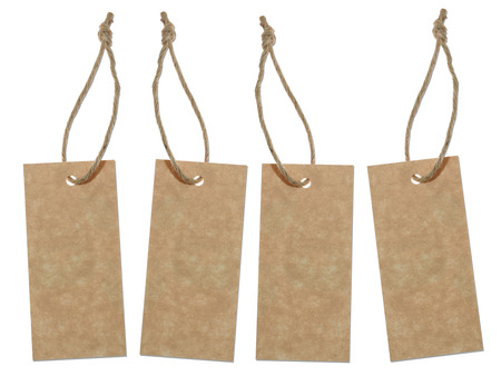 blank tag: Blank brown tags isolated on white background