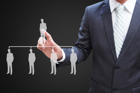 Businessman hand touching virtual panel of professional officer , human resources  concept
