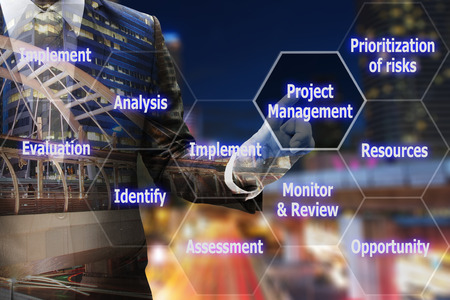 prioritization: Business man hand touching virtual panel of icon polygon interface of project management , business concept