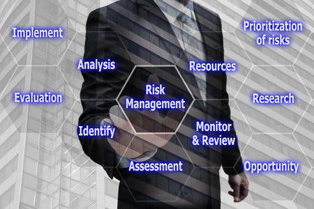 prioritization: Double exposure businessman hand touching virtual panel of icon polygon interface of risk management , business concept