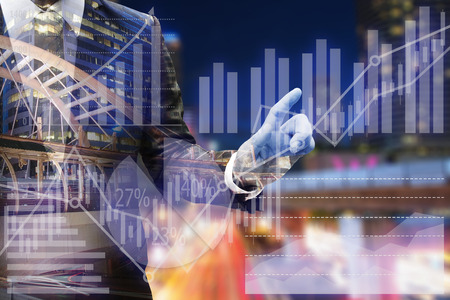 Business man hand touching virtual panel of pie chart and other chart , business concept Stockfoto