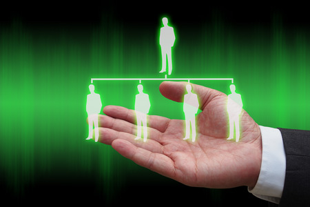 leadership potential: businessman hand with virtual panel of professional officer , human resources  concept Stock Photo