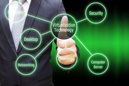 Businessman hand thumbs with virtual panel of virtualization technology or cloud computing. Computer technology concept.